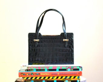 50s Vintage Black Leather Bag Crocodile Handbag Purse from Saks Fifth Avenue Made in France