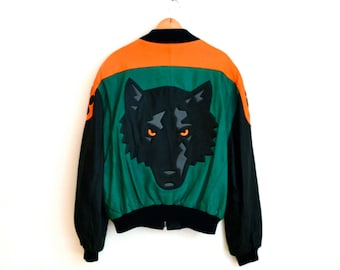80s Wolf Leather Jacket by Michael Hoban North Beach Where M I// Vintage Bomber Black Leather Jacket