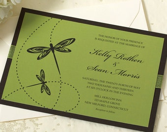 Dragonfly Wedding Invitation, Green Wedding Invitation, Outdoor Wedding, SAMPLE