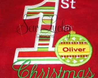 1st Christmas applique design - machine embroidery design- Many formats - INSTANT DOWNLOAD