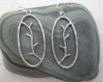 Silver Tree Earrings, Branch, Vine, Simple Everyday Silver Earrings, Earthy Woodland Jewelry