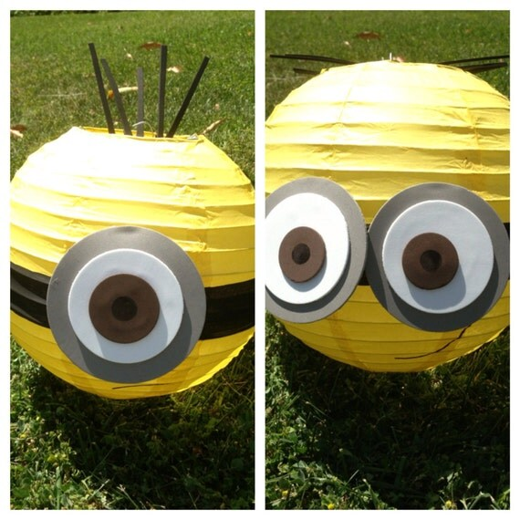 Minion inspired yellow paper lantern decoration one eyed or for Decoration minion