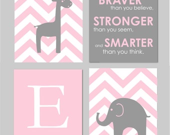 """Pink and Gray Nursery - Gray Nursery - Always Remember You are Braver - Initial/Monogram - Elephant And Giraffe Prints  Set of four 11""""x14""""s"""