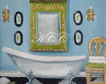 Fine Art Print of my Original Oil Painting- Clawfoot Tub