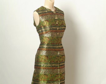 Vintage 60s Dress Metallic / Medium / large / disco dress / 1960s / Women's Clothing / Green, Gold, Silver / brocade dress / Party Dress