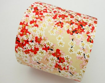 Paper Swatch RED1 - Mini Blossoms in Red, Pink and White - Chiyogami Paper