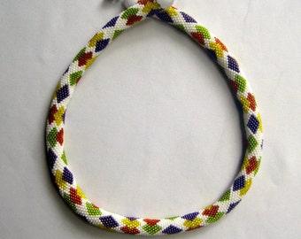 Bead Crochet Necklace:  Tutti-Frutti Bead Crochet Necklace Pattern
