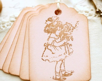 Pink Girl Gift Tags Vintage Inspired Party Decor