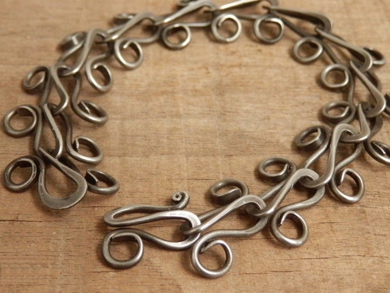 Forged Link Chains : Hand made chain bracelet forged steel jewelry by