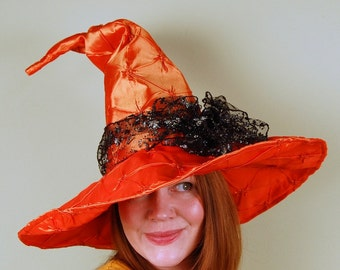 wizard or witch hat- LAUREL - Quilted Orange Magic - Halloween- puckered quilted satin