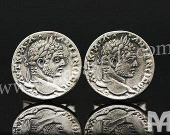 Sterling Silver Emperor Caracalla Coin Replica Cufflinks