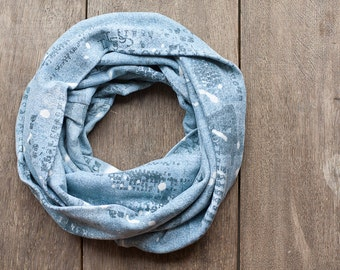 Light Blue Infinity Scarf Versatile Cowl chunky Loop cowl urban Circle scarf Modern letters men scarf