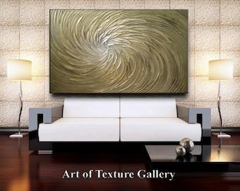 68 x 40 HUGE Custom Original Abstract Texture Modern Sage Olive Gold Silver Floral Metallic Carved Sculpture Knife Oil Painting by Je Hlobik