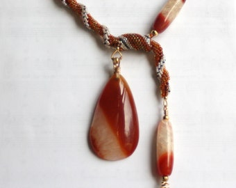 NeckWarmer, a Carnelian, Beadwork and Hand-Forged Wirework Necklace
