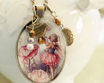 necklace, jewelry,fairy, charms, bird, handmade, bronze, gift, can be custom