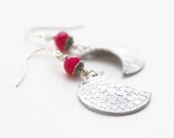 Moon Earrings Siver and Pink