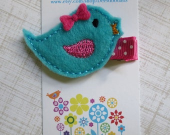 Little Auqa and Hot Pink Birdie Felt Embroidered Hair Clip - Clippie