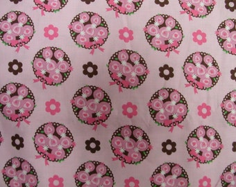 Shades of Pink and Brown Rosebud Bouquets Cotton 1 Yard  (SM199)