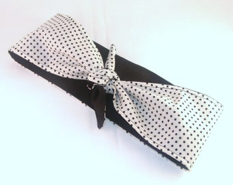 Head Scarf, Reversible White with Tiny Black Polka Dots with Black on back Rockabilly Pin Up Headscarf