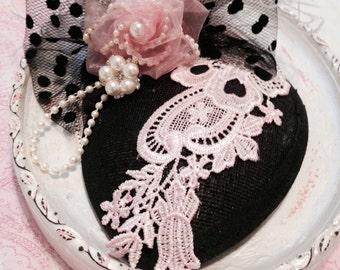 Vintage Inspired Teardrop Hat...Black and Pink Feather Fascinator...Wedding hat, Flower Girl Hat, Tea Party Hat