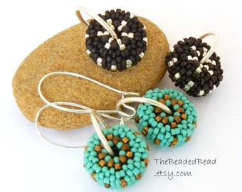 Earrings - Black Silver and Turquoise Changeable Beaded Bead Earrings