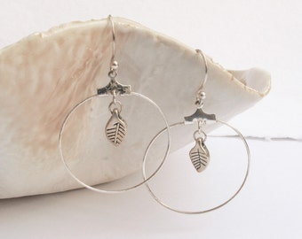 Boho Hoops Silver Plated Leaf Hoop Earrings - Leaf Drop Earrings, Geometric Big Circle Leaf Earrings