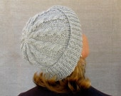 Alpaca Hat Knit Cabled Watchcap in Silver Gray