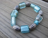 BRACELET SALE- Blue, Silver Bracelet -Glass Bracelet- one of a kind