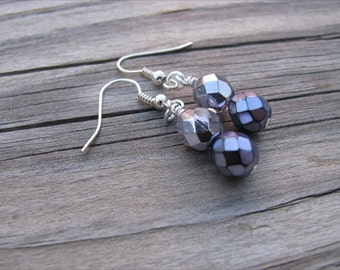 Metallic Purple Glass Beaded Earrings