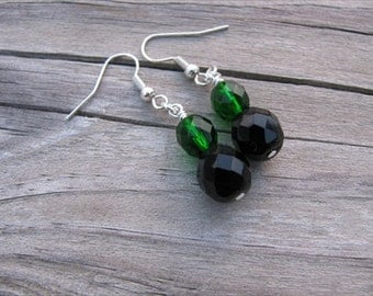 Emerald Green and Black Glass Beaded Earrings