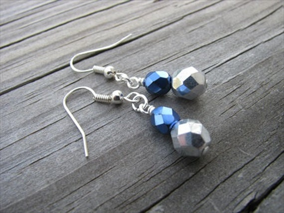 Metallic Blue and Silver Glass Beaded Earrings