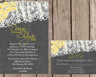 Rustic Burlap and Lace Wedding Invitation, Vintage Lace Wedding Invitation, Grey and Yellow Wedding Invitation, Custom