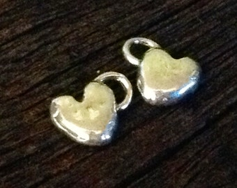 2 Small Artisan Heart Charms in Solid Sterling Silver - Handcrafted by Lost Wax Carving AC43