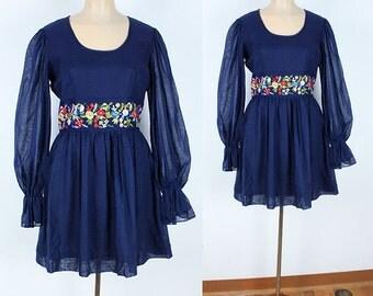Vintage 60s Navy Blue Cotton Mini Dress Floral Embroidery