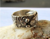 Rustic Silver Ring, Woodland Ring, Chunky Ring, Leaf Ring, Oxidized Silver