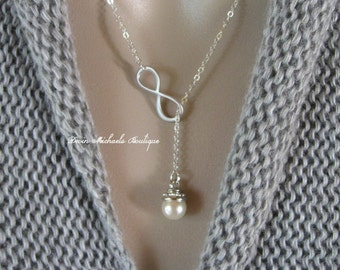 Infinity and Pearl Lariat Necklace, Pearl Necklace, Valentine's Gift, Anniversary, Mothers Day, Christmas Gift