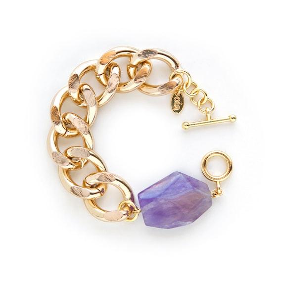 Presh Bracelet - Gold/Raw Amethyst