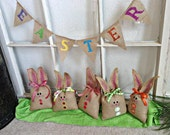 Easter Burlap Mini Banner-READY TO SHIP-Bunting Garland Pennant Flag Easter Decoration - We Do Custom Banners by SheriSewSweet