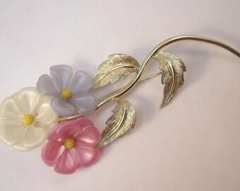 Vintage Long stemmed pastel flower brooch