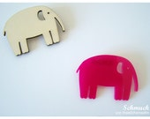Maedchenwahn Pink Elephant  Brooch, Decor Pin Nature Wood or Acryl Pink