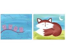 Owl and Fox Sleeping Set of Prints - Set of Forest Animal Prints - Nursery Art
