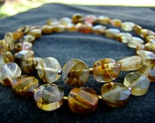 Gold Quartz Necklace // Gold and Amber Glass Beaded Choker Necklace // Beaded Necklace // Bead Jewelry // Everyday Jewelry - BJ0036