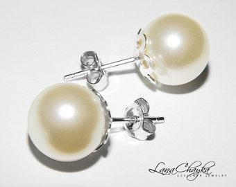Ivory Pearl Stud Earrings 925 STERLING SILVER Pearl Bridal Earrings Swarovski 10mm Pearl Wedding Earring Bridal Pearl Studs Free US Shipping