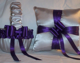 Silver Satin With Regency Purple Trim Flower Girl Basket And Ring Bearer Pillow