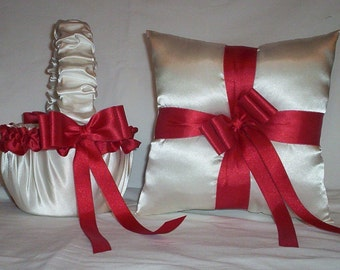 Ivory Cream Satin With Red Ribbon Trim Flower Girl Basket And Ring Bearer Pillow Set 3