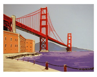 SAN FRANCISCO, The Golden Gate Bridge, View on the Golden Pass, Fort Point, Original illustration, Limited edition, Free Shipping in USA.