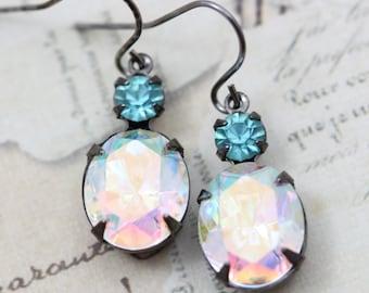 Aquamarine Earrings Crystal AB Earrings Dangle Earrings Aqua Aurora Borealis Blue White Vintage Earrings Rhinestone Earrings Crystal Earring