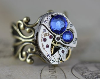 Steampunk Ring - Unique Ring Watch Ring  READY TO SHIP Steam Punk Jewelry Sapphire Blue September Swarovski Ring - by Inspired by Elizabeth