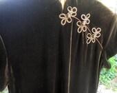 Cheongsam DRESS, Asian, Dark Brown VELVET, size 8