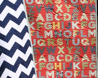 SALE Chevron Baby Quilt Alphabet Letters Primary Colors Gender Neutral ABCs Boy Girl Nursery Bedding Crib or Cot Blanket Handmade